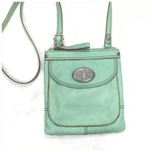 Fossil Mint Green Leather Crossbody Bag SL3129